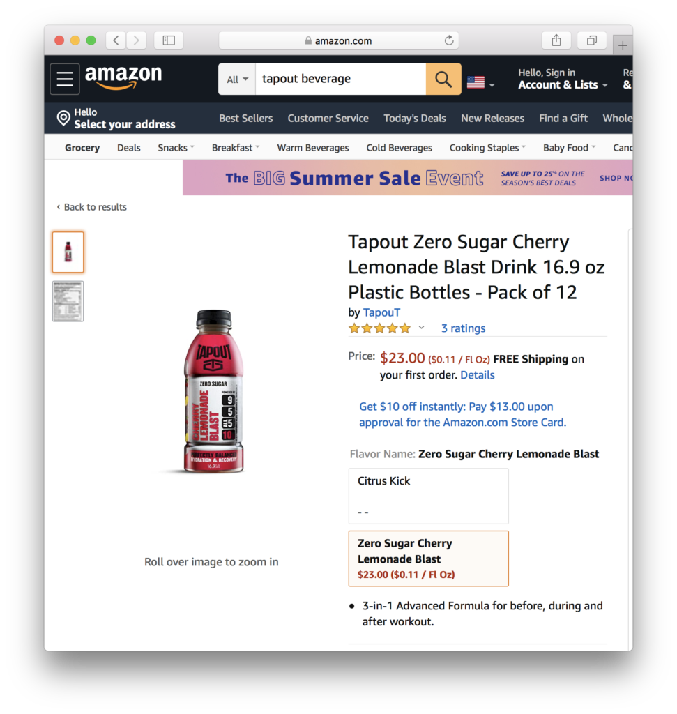 SBEV Splash Beverage TapouT in Amazon NASDAQ: AMZN