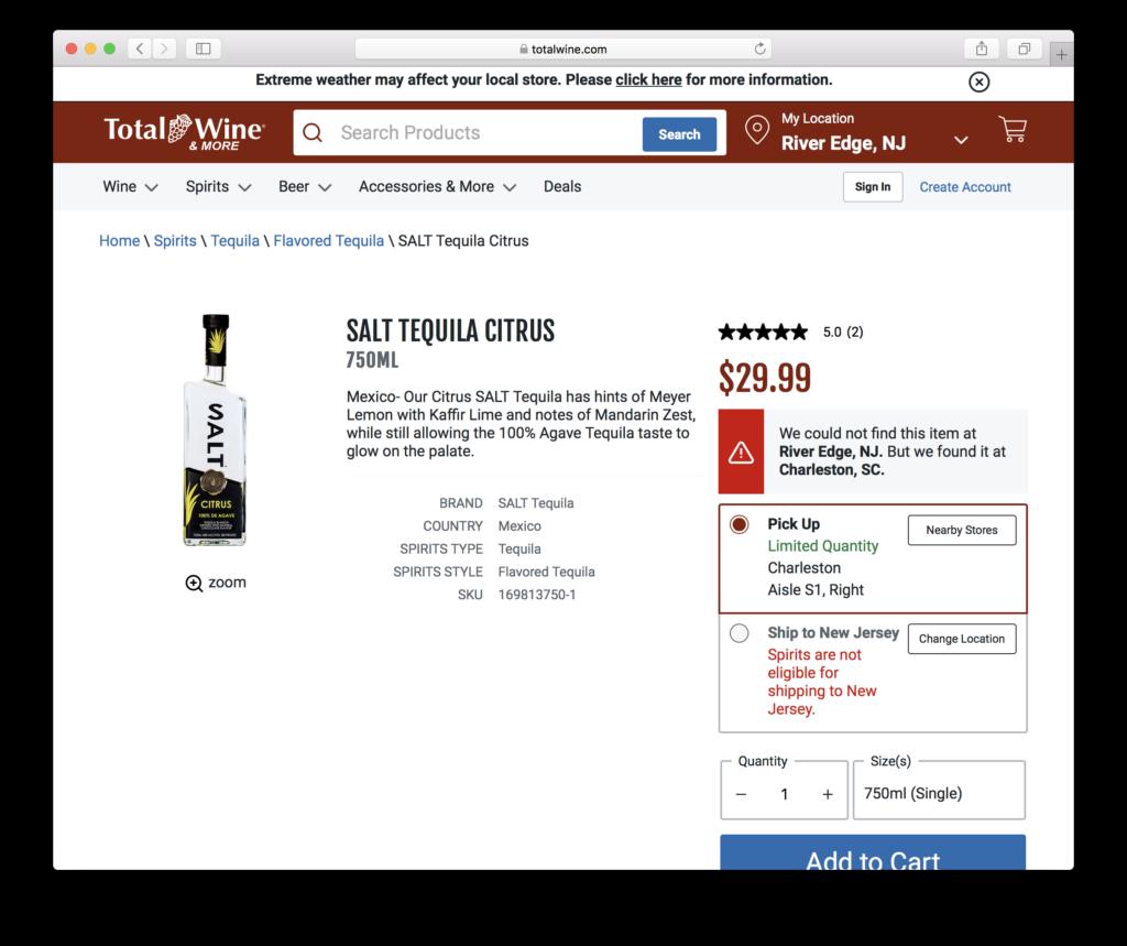 SBEV Splash Beverage Salt Tequila in Total Wine